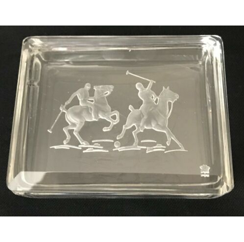 Etched Glass Signed Heinrich Hoffmann Polo Ponies Card Tray Dish
