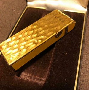 Authentic Dunhill Gas Lighter Gold Roller with box lt1216