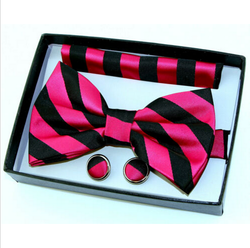 Men's Dress Bow Tie + Cufflinks + Pocket Square Wedding Striped Pink Bowtie Set