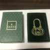 Gucci Key Chain Keyring Bag Charm Green Vintage Interlocking Gold w/Box