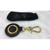 Gianni Versace Gold Plated Key Ring Medusa Black Leather Trim