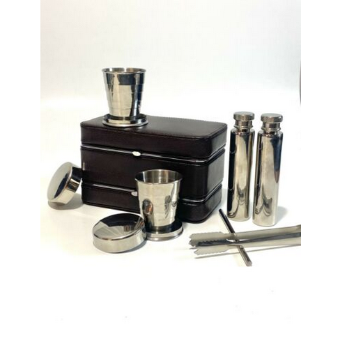 Vintage Portable Travel Bar Set In A Leather Case