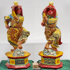 Chinoiserie Hand Painted Carved Chic Monkey Statues - a Pair