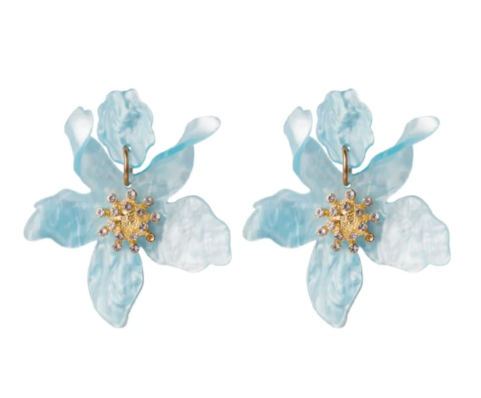 BOTANICAL EARRINGS LIGHT BLUE