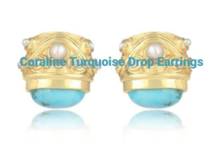 CORALINE TURQUOISE AND PEARL EARINGS