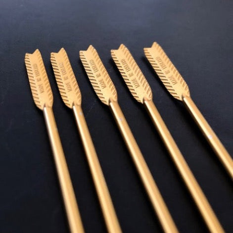 Vintage Gold Arrow Cocktail Picks - Set of 5
