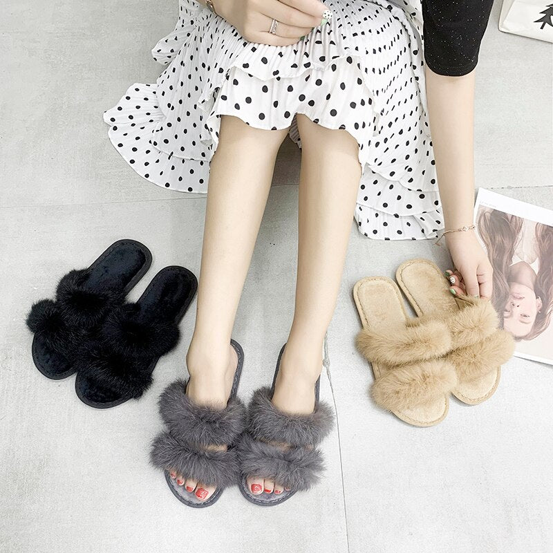 Women Fur Home Slippers  3 colors Rabbit Hair