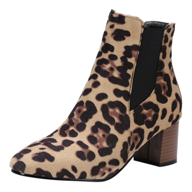 Women's Snow Boots Leopard-Printed Shoes Fashion
