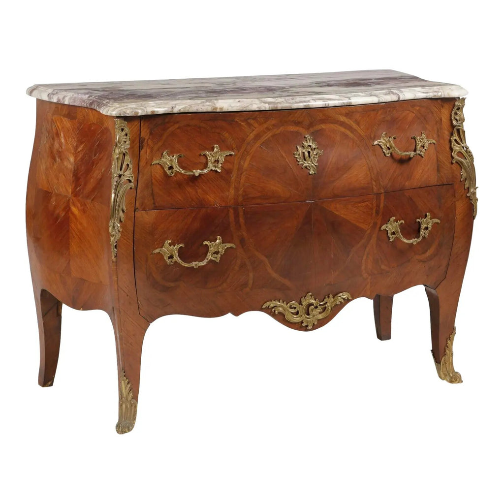 A Louis XV Style Gilt Inlaid Walnut Commode