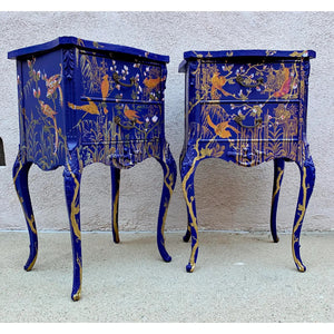 An Exceptional Chinoiserie Chic Handpainted Nightstands-A Pair
