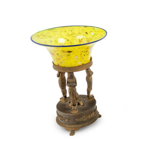 Antique French Empire Style Gilt Bronze Table Centerpiece With Glass Bowl