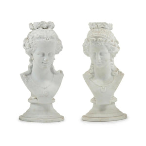 Antique Tall Neoclassical White Bisque Female Busts - a Pair