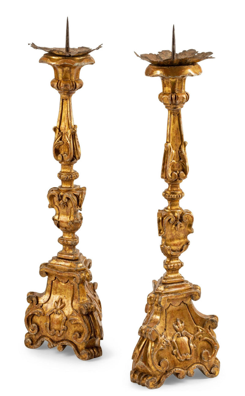 Carved Gilt Wood 18th Century Northern Italian Carved Candle Sticks