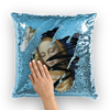 Blue Sequin Cushion Cover