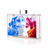 Abstract Oil Paint Acrylic Lucite Box Clutch