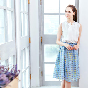 Woman skirt -Sky blue 100% cotton paperbag skirt