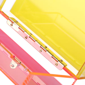 Trendy Neon Two Tone Transparent Acrylic Clutch