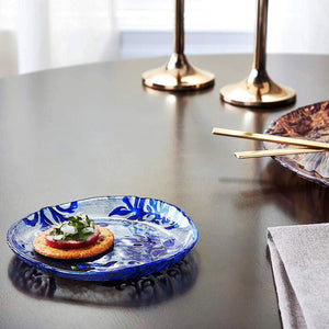DAMASK Blue Velvet Gilded Glass Canapé Plates