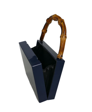 Bamboo Handle Indigo Wildcat Acrylic Box Clutch
