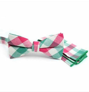 Preppy Gingham Green & Salmon Bowtie & Pocket square