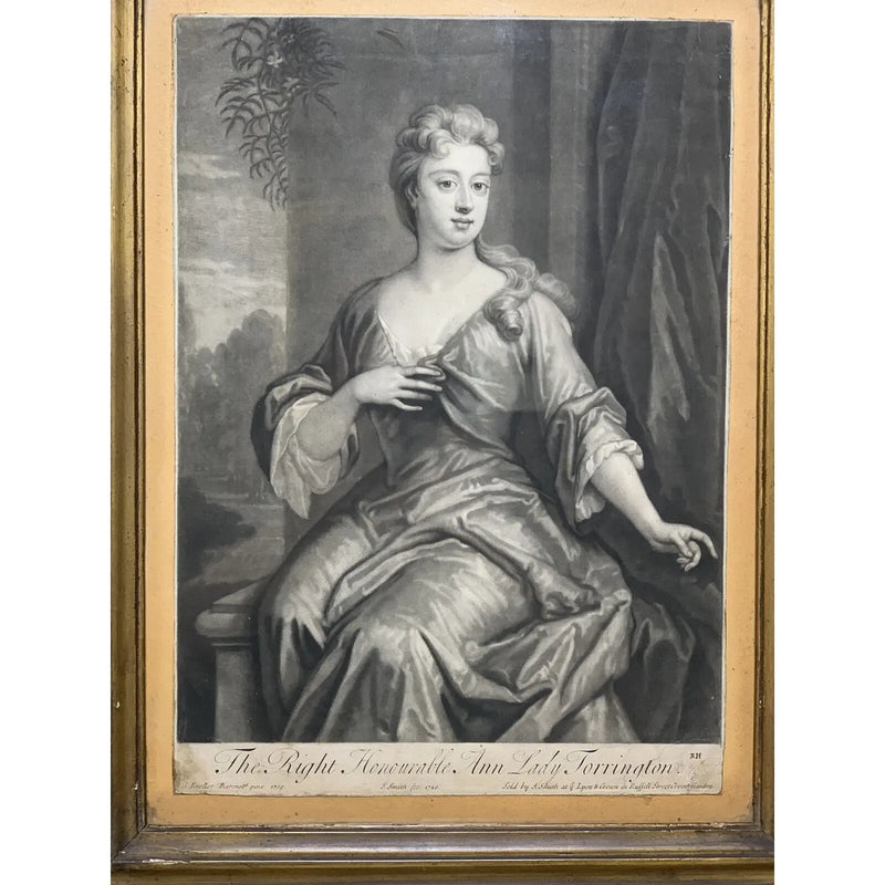 Early 18th Century Ann Lady Torrington Mezzotint Engraving Print