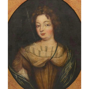 Early 18th Century Oil on Canvas Portrait of a Young Woman