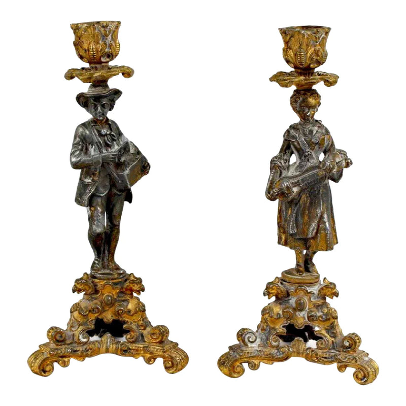 Early 19th Century French Figural Candleholders - a Pair