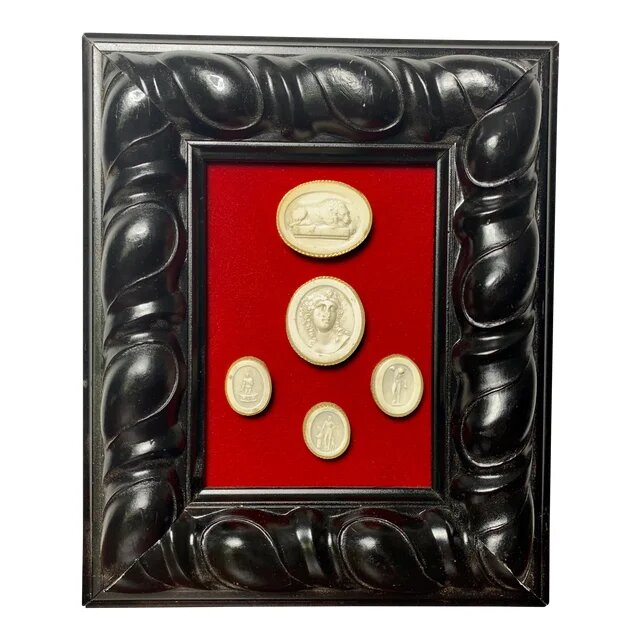 Early 19th Century Grand Tour Arrangements of Italian Cameos With Baroque Style Frame
