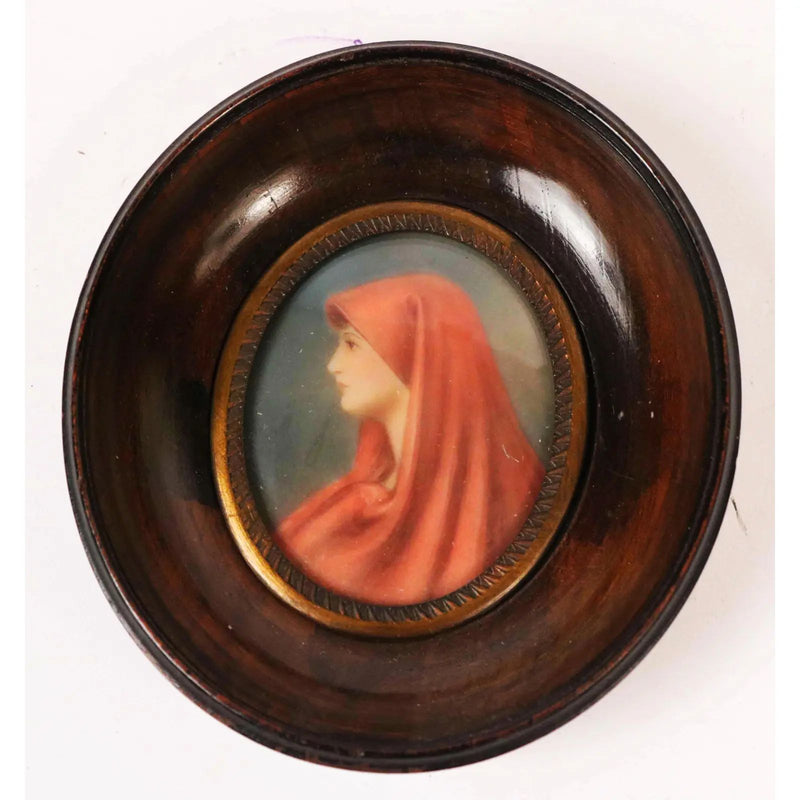 Early 20th-Century Handpainted Portrait Miniature of Saint Fabiola