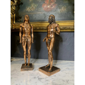 Grand Tour Style Copper Finish Hellenistic Statuettes - a Pair