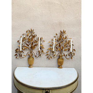 Hollywood Regency Giltwood Wall Sconces - a Pair