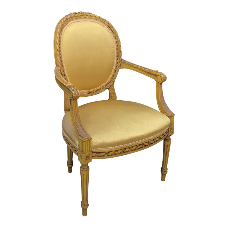 Late 19th Century Vintage Louis XVI Style Fauteuil Armchair
