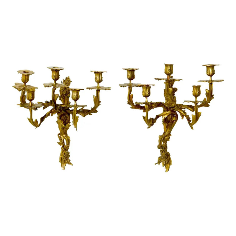 Louis XV Style Five Branch Rocaille Wall Lights - a Pair