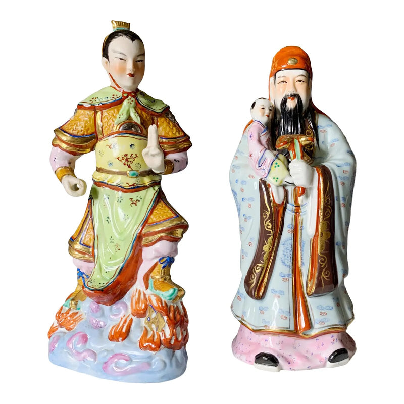 Mid Century Porcelain Chinese Figurines of Immortals - a Pair