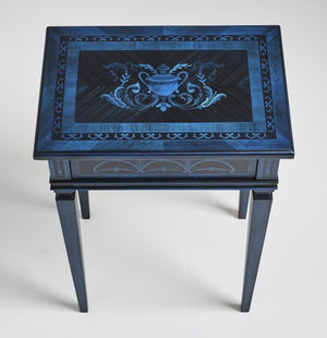 Maximalist Style Blue Accent Table (Handmade in Italy)