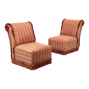 Rose and Gold Damask Slipper Chairs - a Pair