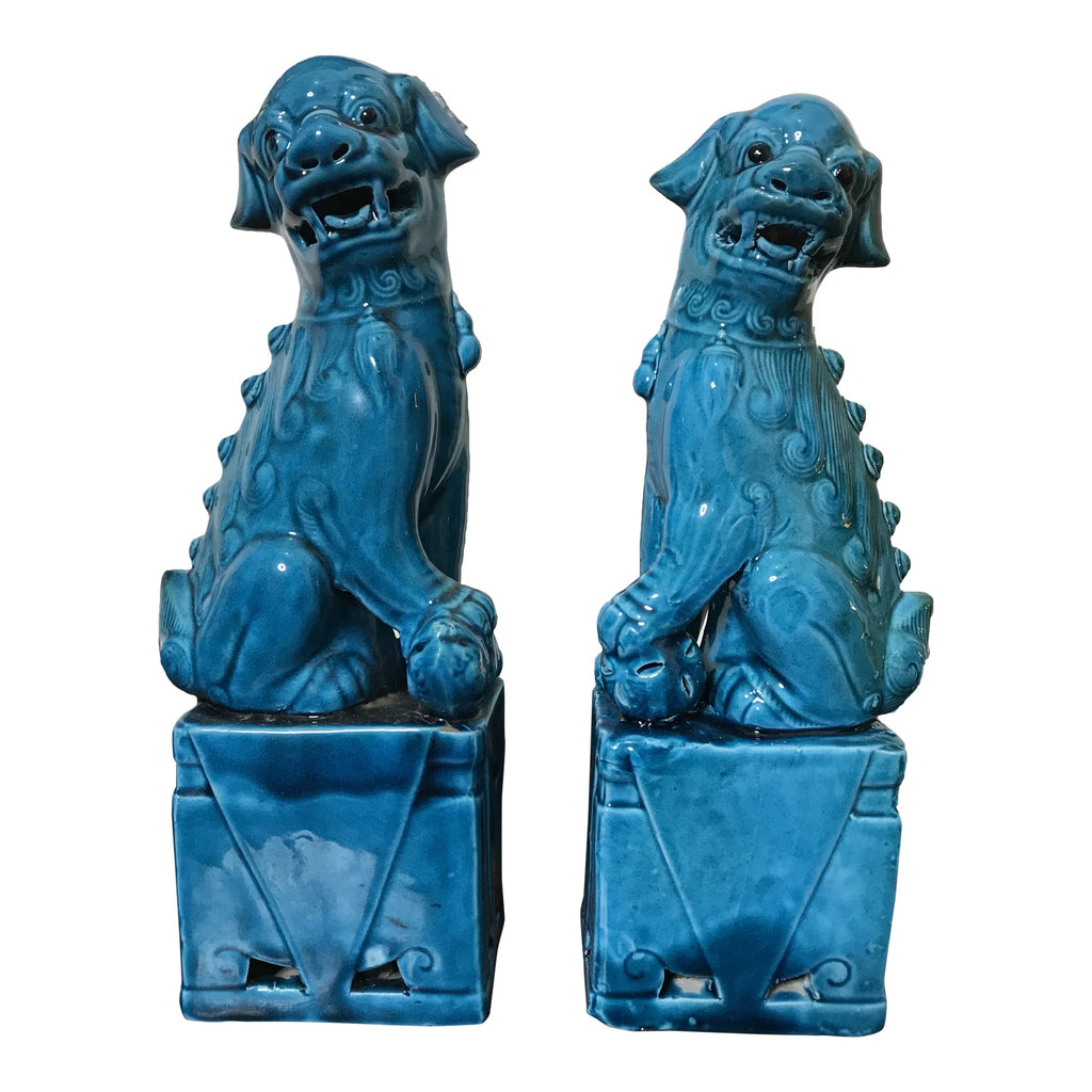 "Vintage Chinese Porcelain Turquoise Foo Dogs 10"" - a Pair"