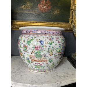 Vintage Hand-painted Qianlong Period Marked Cachepot