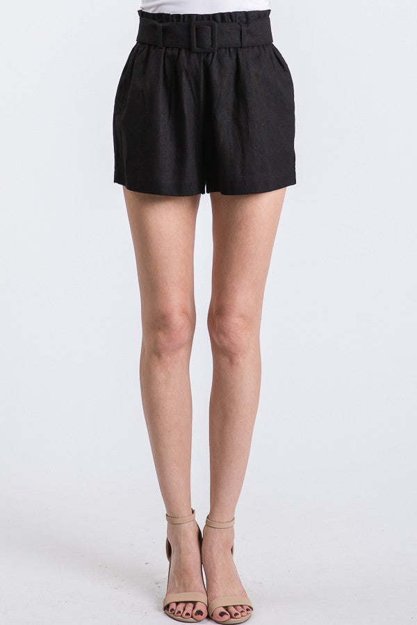 Square Buckled Belt Coral Shorts - Artemisia Clothing Shop