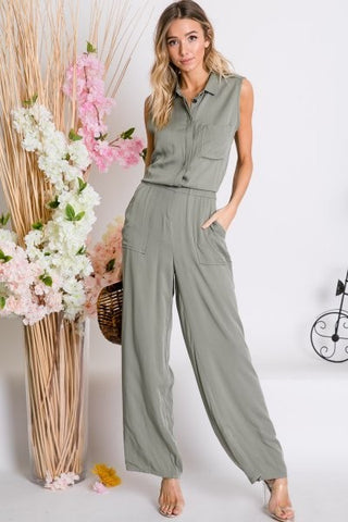 Surplice Cami Jumpsuit