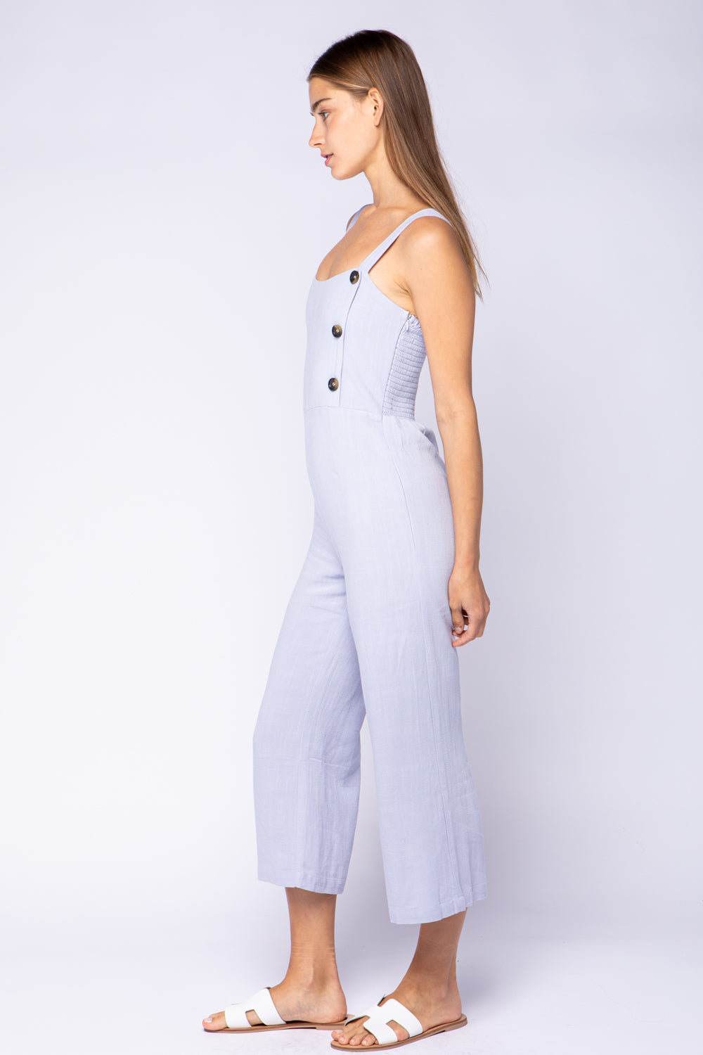 Solid Side Button Down Crop Jumpsuit - Artemisia Clothing Shop