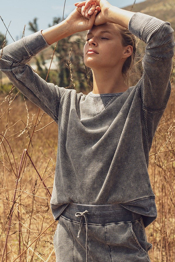 Cotton Waffle Mineral Wash Pullover - Artemisia Clothing Shop