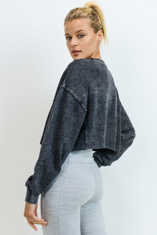 Cropped Jacquard Mineral Wash Pullover - Artemisia Clothing Shop