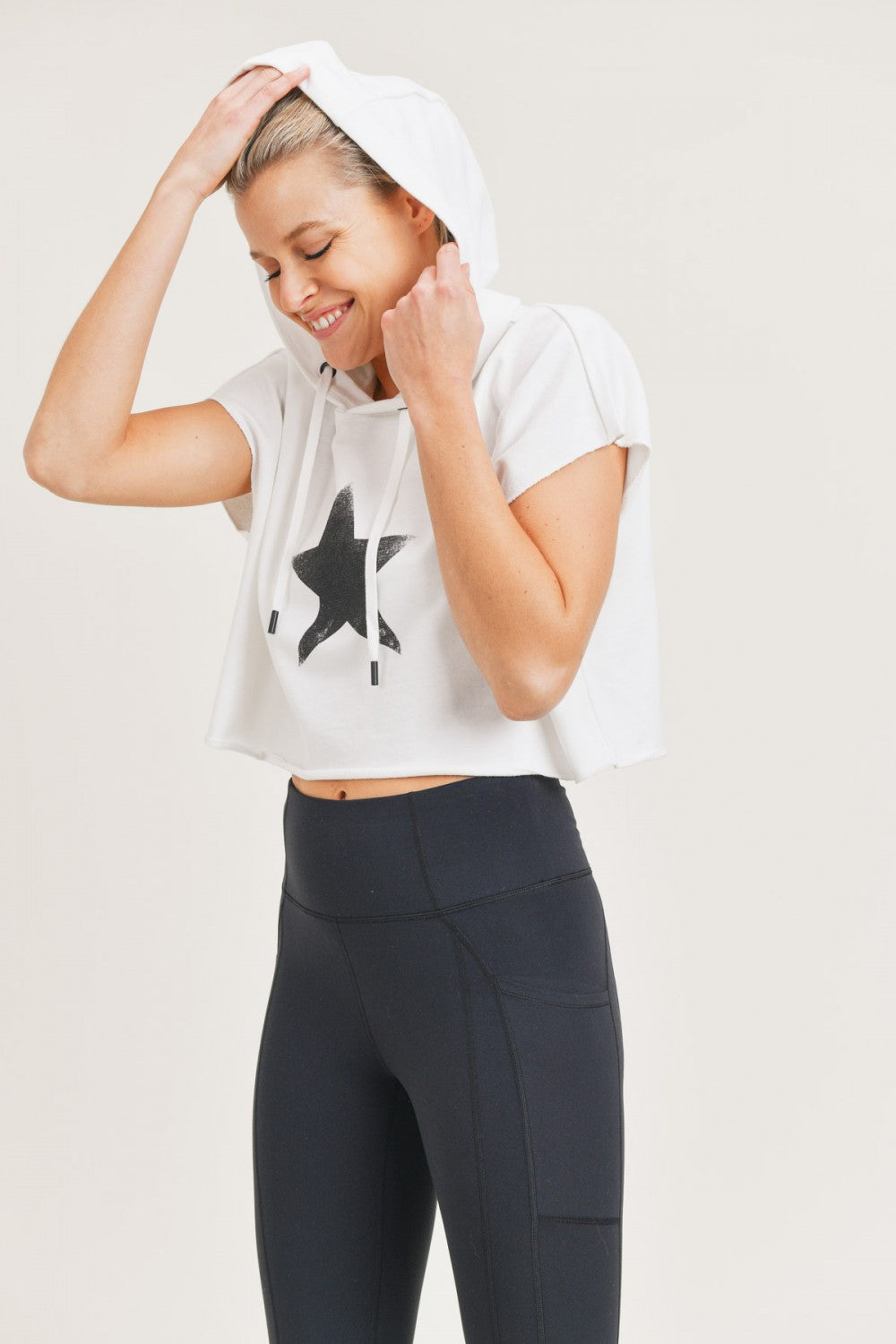 Terry Star Cropped Hoodie Top - Artemisia Clothing Shop