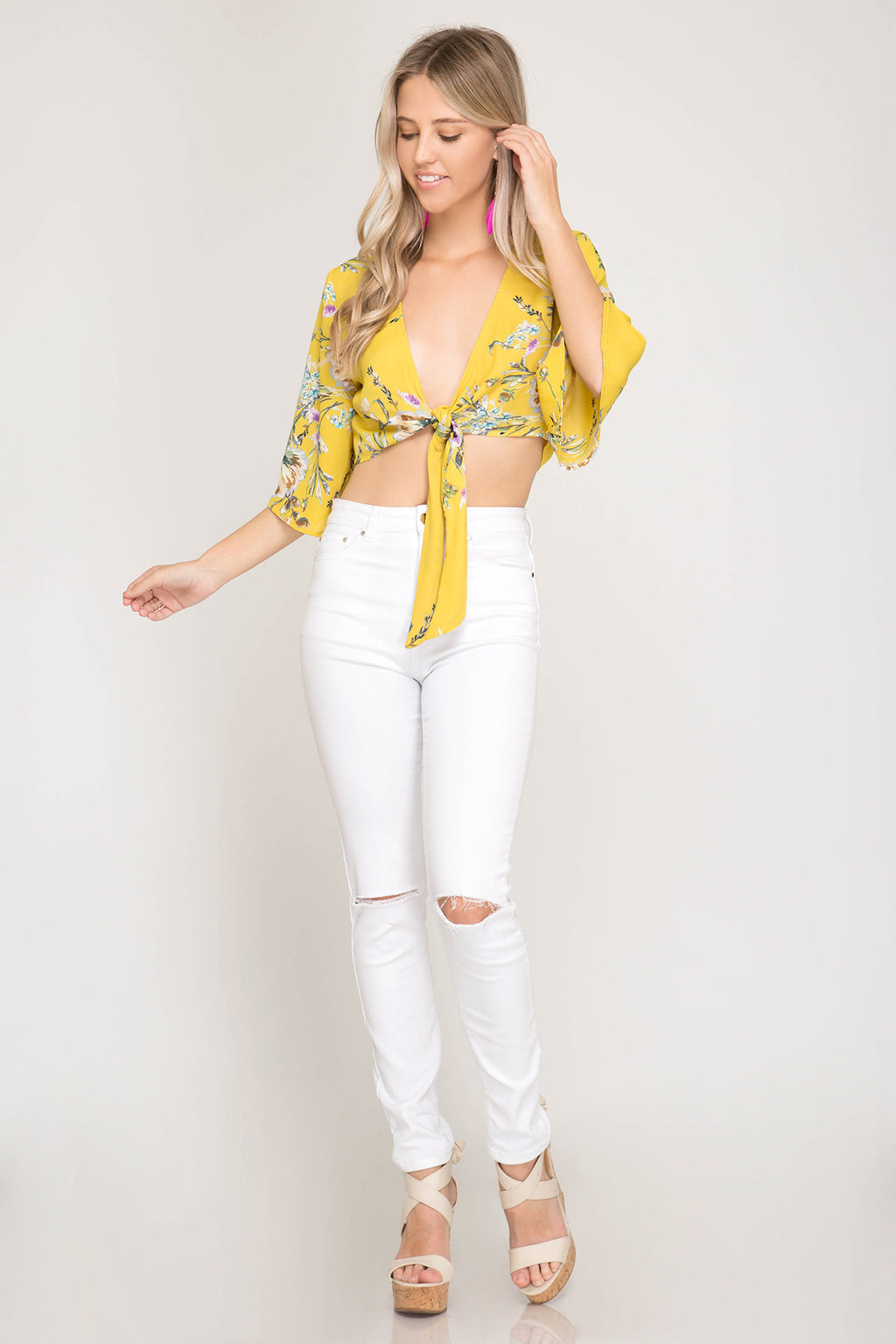 Floral Crop Top with self Tie - Artemisia Clothing Shop