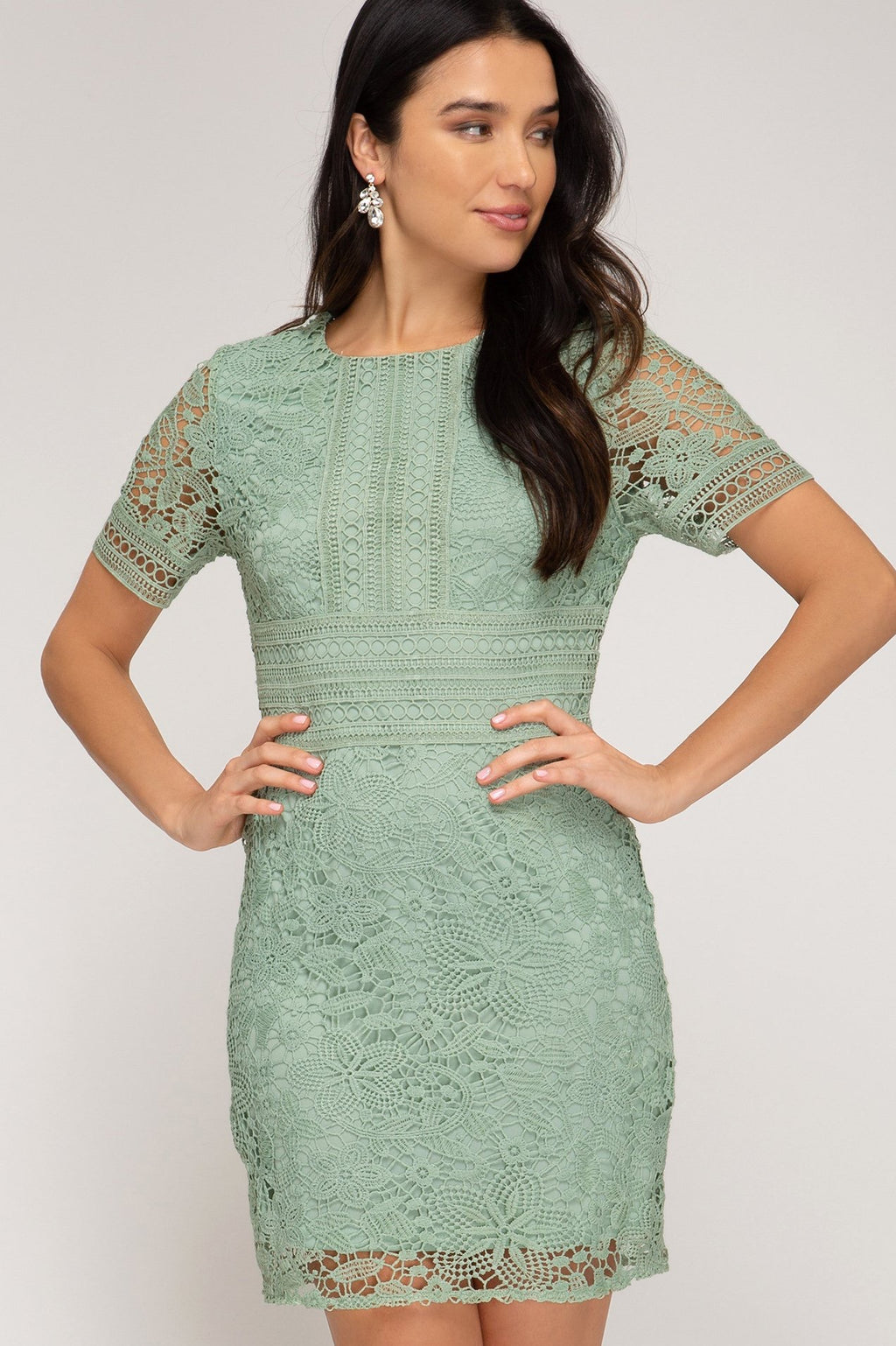 Crochet Short Sleeve Lace Dress - Artemisia Clothing Shop