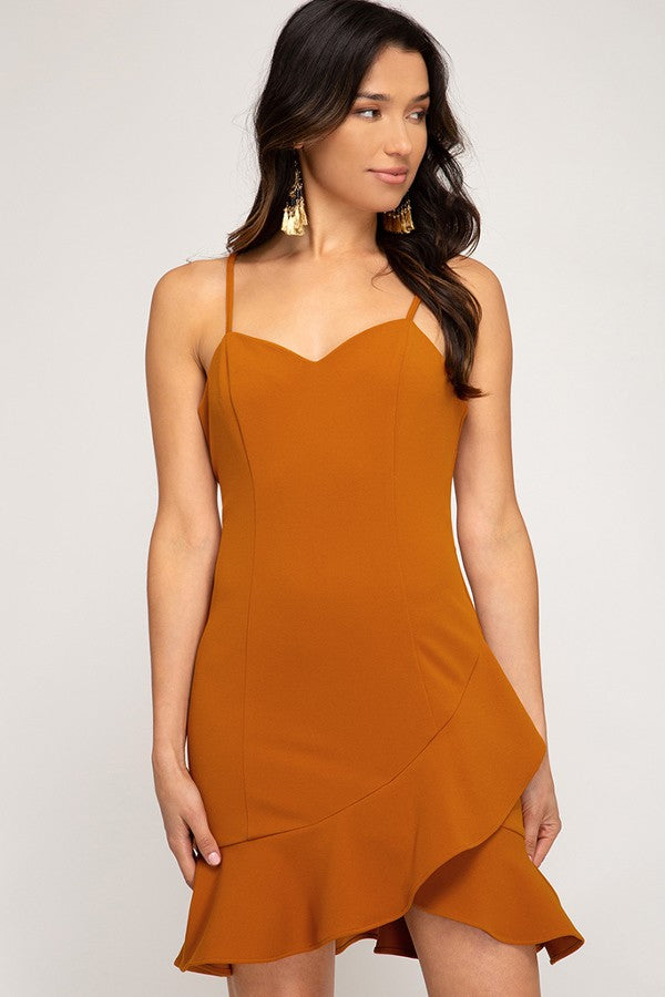 Pumpkin Cami Dress With Flounce Hem - Artemisia Clothing Shop