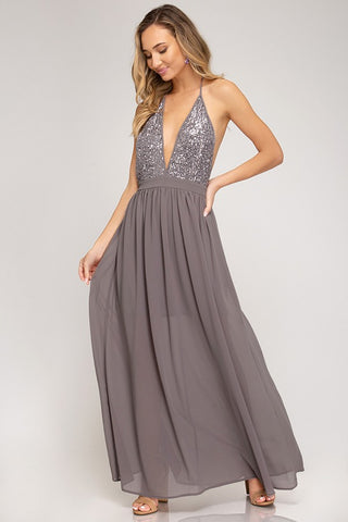 Square Neck Chiffon Maxi Dress