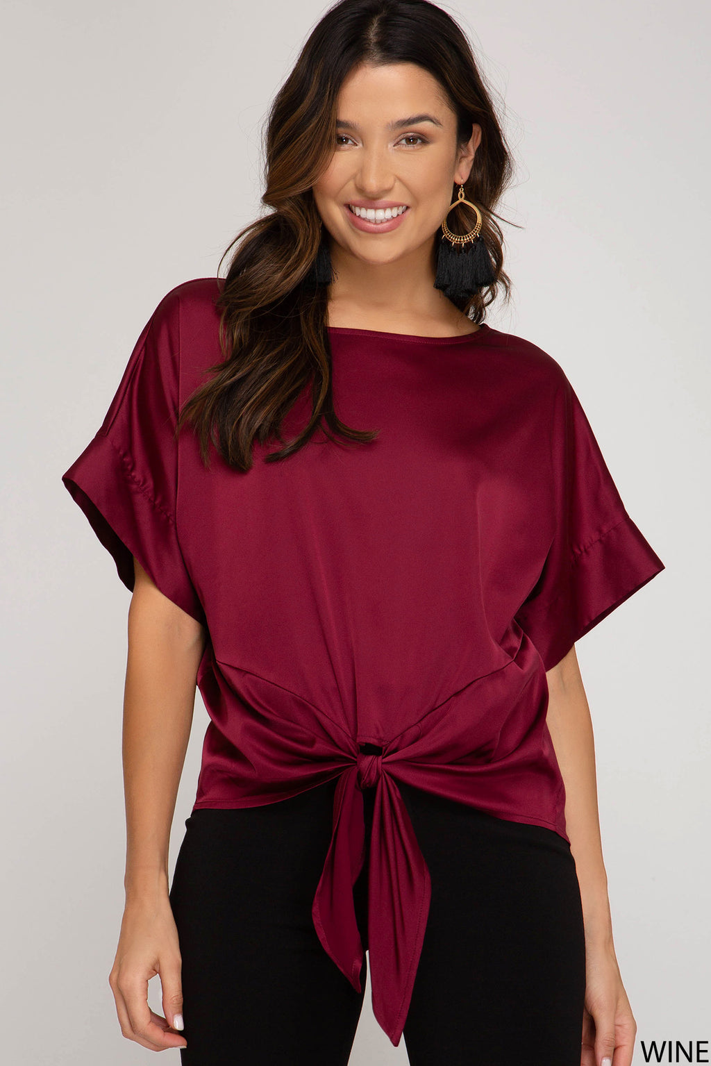 Short Kimono Sleeve Satin Top - Artemisia Clothing Shop