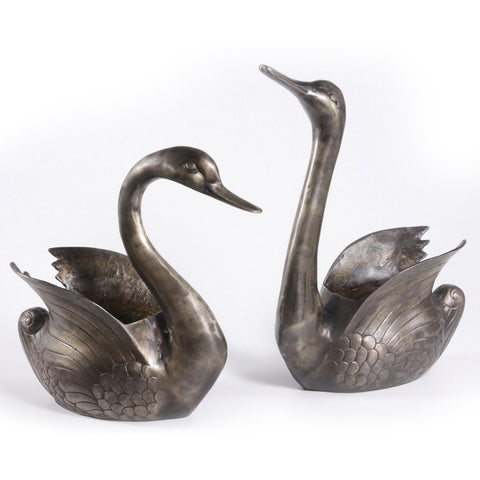 Silver Duck Planter, Small - FOLKBRIDGE.COM | Buy Gifts. Indian Handicrafts. Home Decorations.